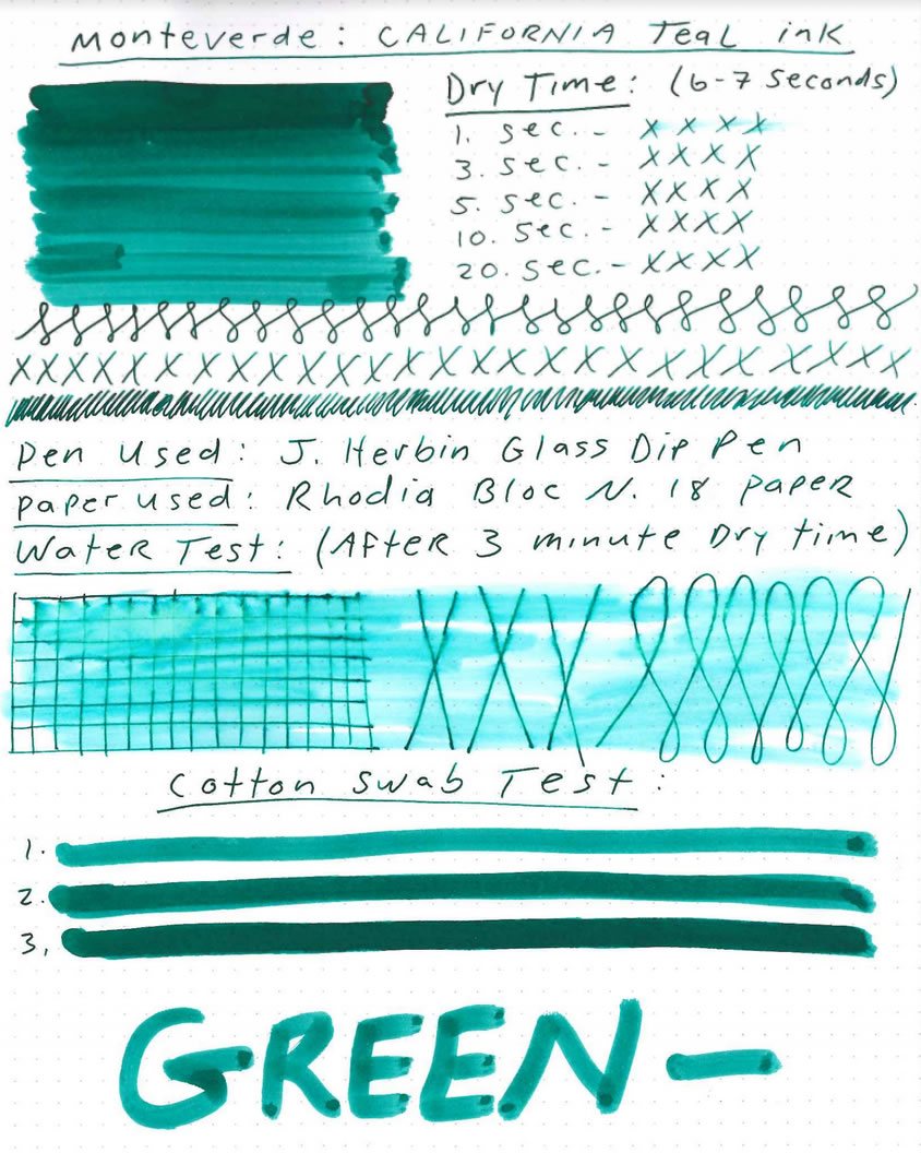 Monteverde California Teal Ink