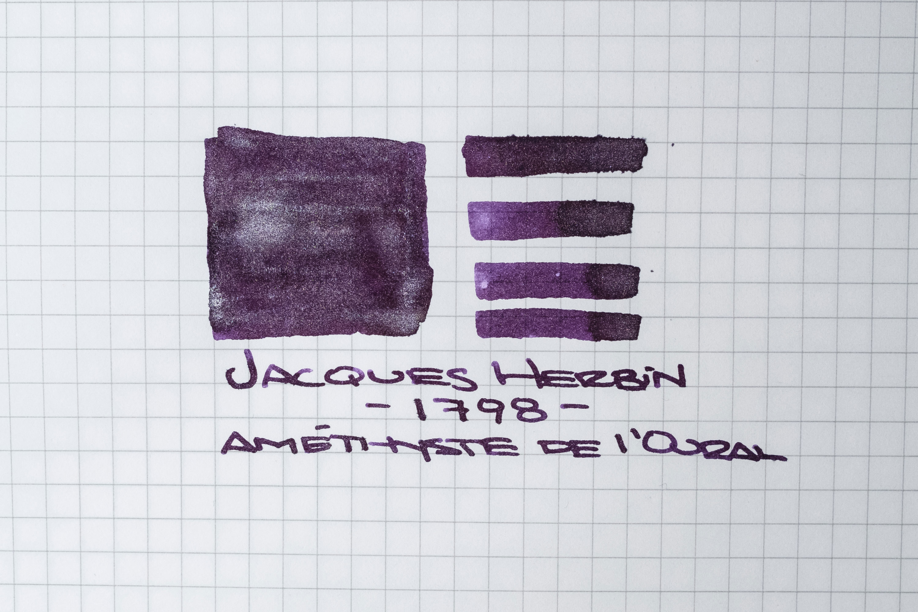Jacques Herbin 1798 Amethyste de l'Oural fountian pen ink writing sample