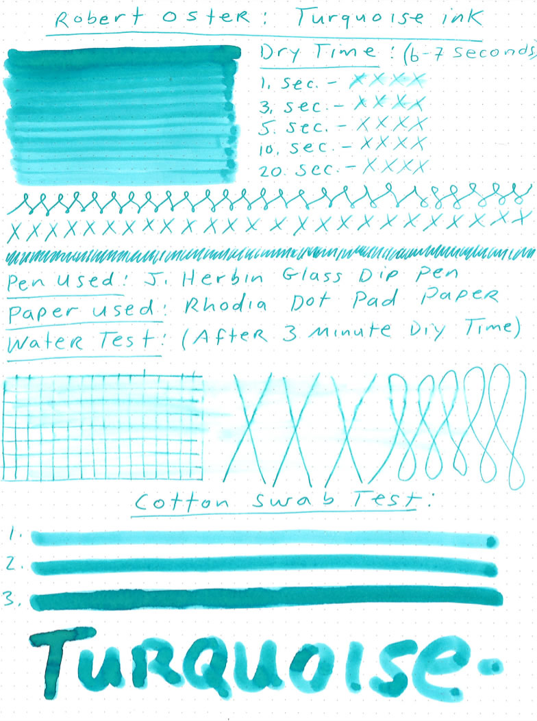 Robert Oster Turquoise Ink Review