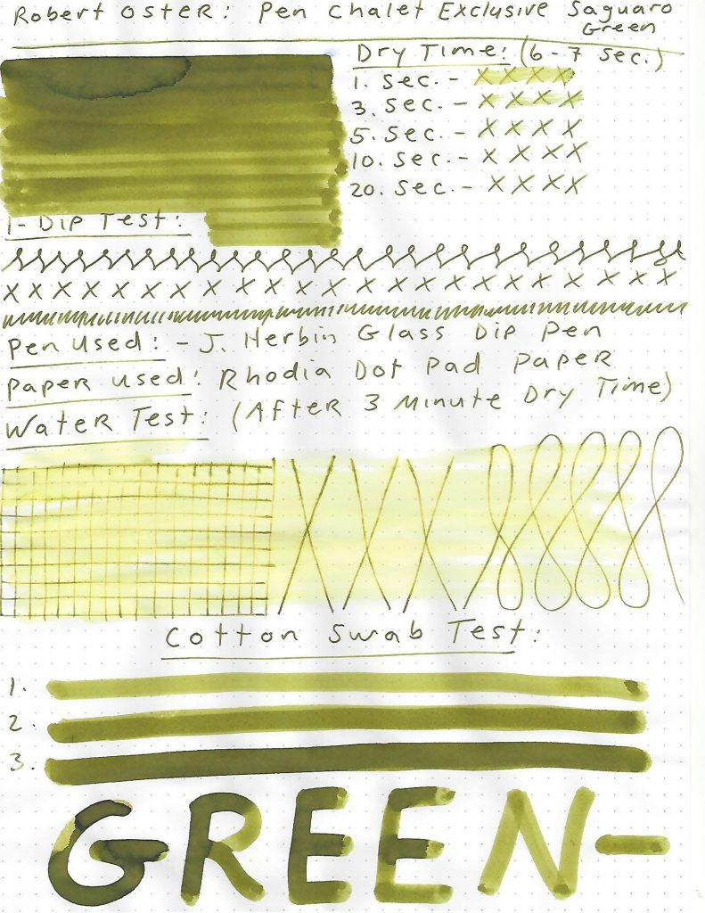 robert oster saguaro green ink review and giveaway