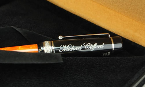 Pen engraved on cap with silver fill
