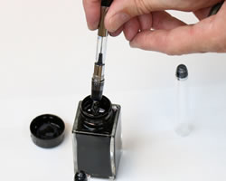 How to fill a converter fountain pen - ink bottle