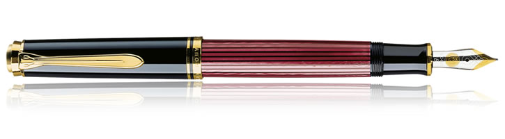 Pelikan Souveran 400 Collection Fountain Pens in Black / Red