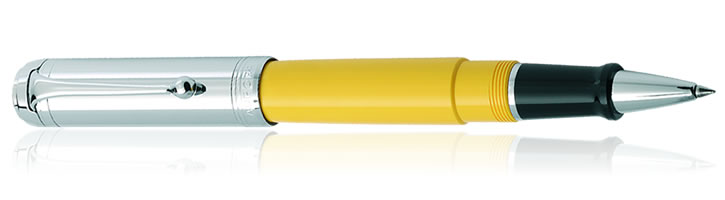 Aurora Talentum Chrome Cap Collection Rollerball Pens in Yellow