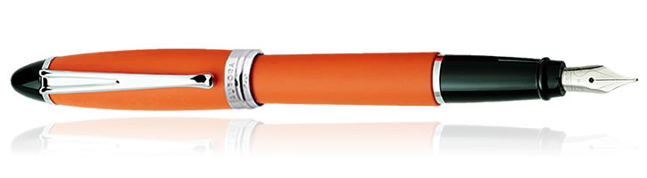Aurora Ipsilon Satin Collection Fountain Pens in Orange
