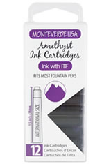 Monteverde International Standard Size Cartridge(12pk) Ballpoint Pen Refills in Amethyst