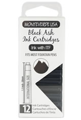 Monteverde International Standard Size Cartridge(12pk) Fountain Pen Ink in Black Ash