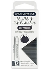 Monteverde International Standard Size Cartridge(12pk) Rollerball Pen Refills in Blue Black