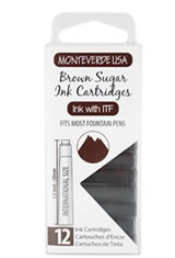 Monteverde International Standard Size Cartridge(12pk) Empty Ink Bottles in Brown Sugar