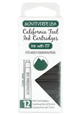Monteverde International Standard Size Cartridge(12pk) Ballpoint Pen Refills in California Teal