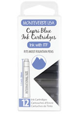 Monteverde International Standard Size Cartridge(12pk) Ballpoint Pen Refills in Capri Blue