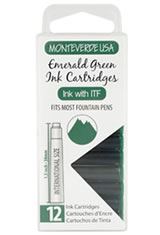 Monteverde International Standard Size Cartridge(12pk) Rollerball Pen Refills in Emerald Green