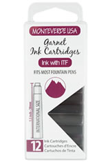 Monteverde International Standard Size Cartridge(12pk) Rollerball Pen Refills in Garnet