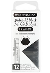 Monteverde International Standard Size Cartridge(12pk) Fountain Pen Ink in Midnight Black