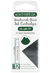 Monteverde International Standard Size Cartridge(12pk) Rollerball Pen Refills in Monteverde Green