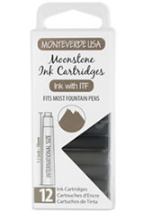 Monteverde International Standard Size Cartridge(12pk) Empty Ink Bottles in Moonstone
