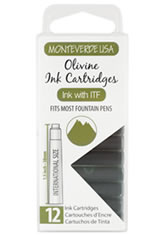 Monteverde International Standard Size Cartridge(12pk) Rollerball Pen Refills in Olivine