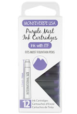 Monteverde International Standard Size Cartridge(12pk) Empty Ink Bottles in Purple Mist