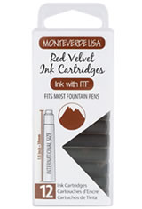 Monteverde International Standard Size Cartridge(12pk) Rollerball Pen Refills in Red Velvet