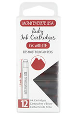 Monteverde International Standard Size Cartridge(12pk) Rollerball Pen Refills in Ruby