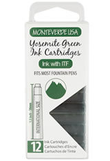 Monteverde International Standard Size Cartridge(12pk) Rollerball Pen Refills in Yosemite Green