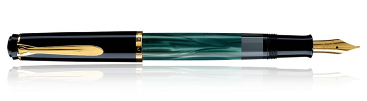 Pelikan Tradition 200 Collection Fountain Pens in Classic Green-marbled