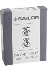 Sailor Pigmented Ink Cartridge(12pk)  in Souboku Blue Black