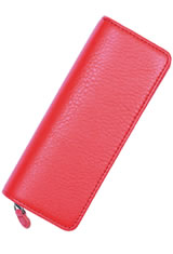 Taccia Dual-pen Leather Pouch Pen Carrying Cases in Sea Coral