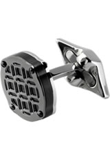 Montegrappa Stainless Steel Filigree Cufflinks in Round Gun Metal
