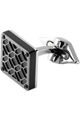 Montegrappa Stainless Steel Filigree Cufflinks in Square Gun Metal