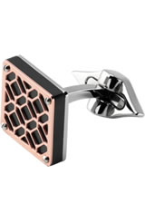 Montegrappa Stainless Steel Filigree Cufflinks in Square Rose Gold