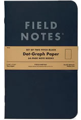Field Notes Pitch Black  Memo & Notebooks in 4¾ x 7½ - Dot Grid