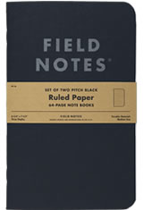 Field Notes Pitch Black  Memo & Notebooks in 4¾ x 7½ - Lined