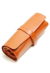 Aston Leather Rollup Pen Carrying Cases in Tan