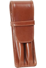 Aston Leather Double Pen Carrying Cases in Cognac