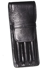 Aston Leather Triple Pen Carrying Cases in Black