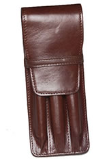 Aston Leather Triple Pen Carrying Cases in Brown