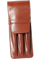 Aston Leather Triple Pen Carrying Cases in Cognac
