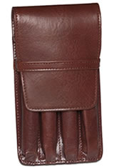 Aston Leather Four Pen Carrying Cases in Brown