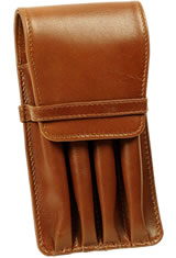 Aston Leather Four Pen Carrying Cases in Cognac