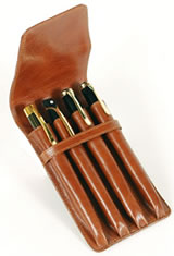 Aston Leather Four Pen Carrying Cases in Tan