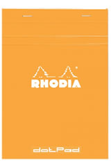 Rhodia Top Staplebound  in 5-3/8 X 8-1/4 Orange/Dot Grid