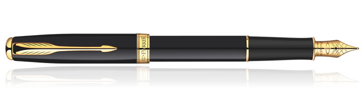 Parker Sonnet Fountain Pens in Black Lacquer GT