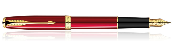 Parker Sonnet Fountain Pens in Red Lacquer GT
