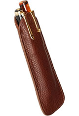 Aston Leather Two Pen Slip Pen Carrying Cases in Brown