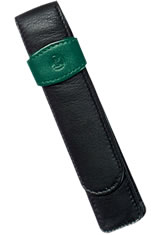 Pelikan Leather Pouch Pen Carrying Cases in 1 Pen Black/Green
