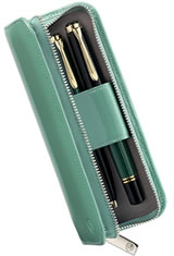 Pelikan Leather Pen Carrying Cases in Green