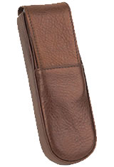 Aston Leather 2 Pen Box Pen Carrying Cases in Rounded Brown