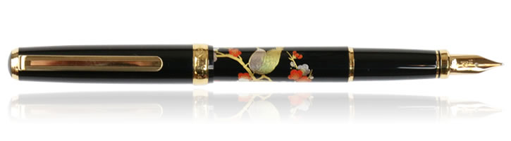 Bush Warbler Platinum Modern Maki-e Fountain Pens