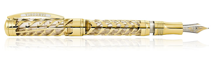 Visconti Watermark Fountain Pens in Gold Filigree